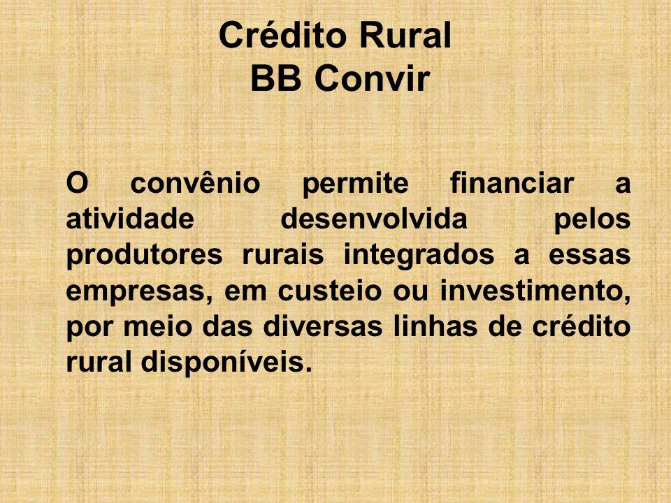 Crédito Rural BB Convir Vantagens para as empresas integradoras: -Segurança quanto à época de entrega e à quantidade da produção; -Melhor gerenciamento da qualidade da produção, devido à assistência técnica prestada aos produtores;