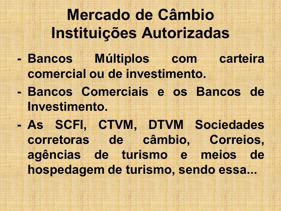 Mercado de Câmbio Instituições Autorizadas -Bancos Múltiplos com carteira comercial ou de investimento. -Bancos Comerciais e os Bancos de Investimento