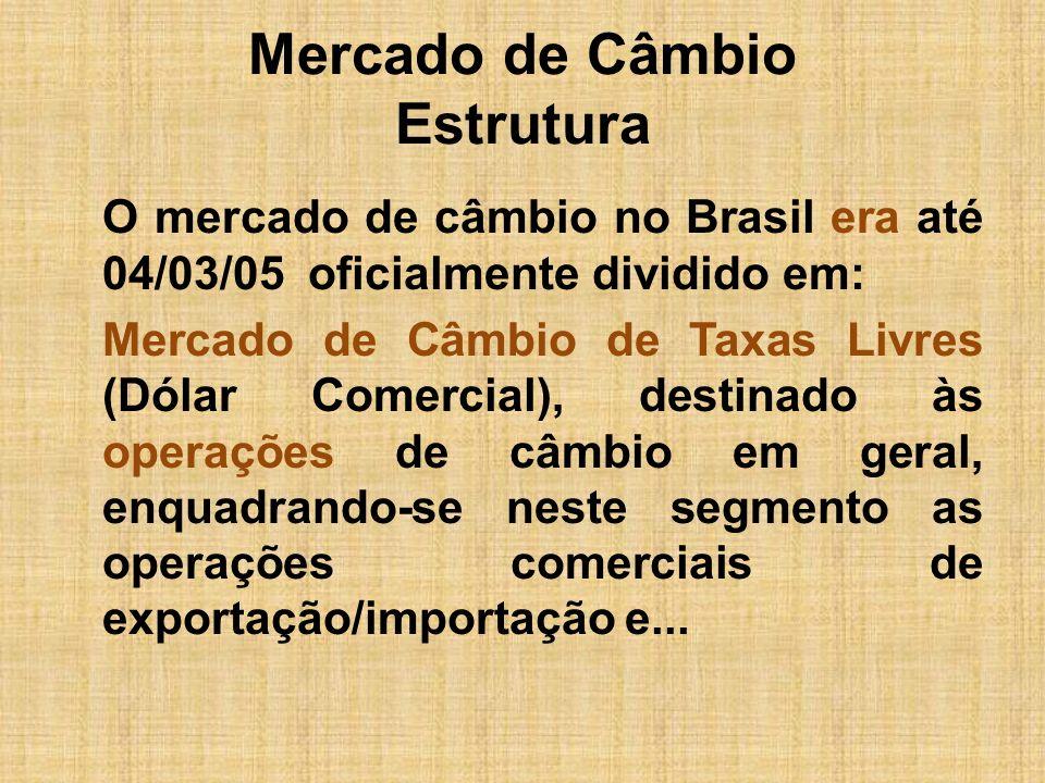 Mercado de Câmbio Estrutura O mercado de câmbio no Brasil era até 04/03/05 oficialmente dividido em: Mercado de Câmbio de Taxas Livres (Dólar Comercia