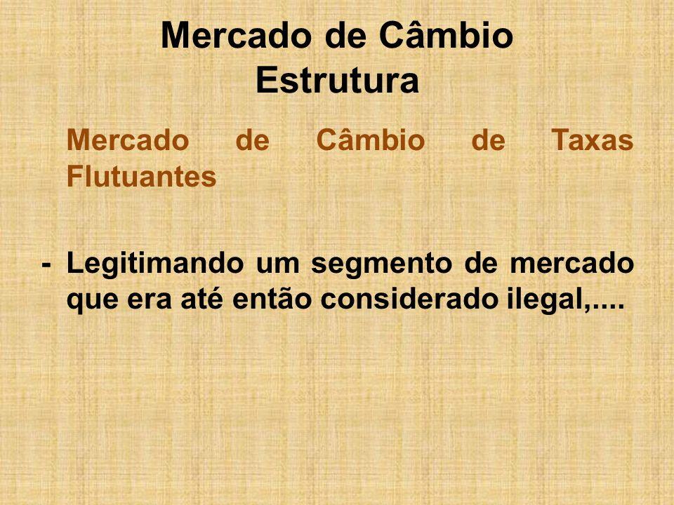 Mercado de Câmbio Estrutura Mercado de Câmbio de Taxas Flutuantes -Legitimando um segmento de mercado que era até então considerado ilegal,....