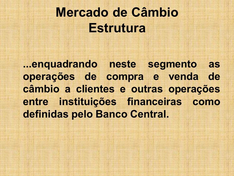 Mercado de Câmbio Estrutura...enquadrando neste segmento as operações de compra e venda de câmbio a clientes e outras operações entre instituições fin