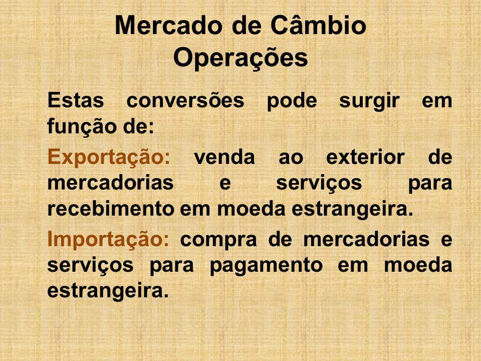 Mercado de Câmbio Operações Estas conversões pode surgir em função de: Exportação: venda ao exterior de mercadorias e serviços para recebimento em moe