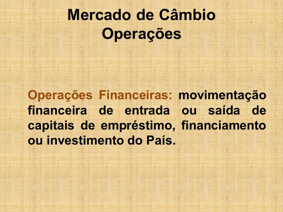Mercado de Câmbio Operações Operações Financeiras: movimentação financeira de entrada ou saída de capitais de empréstimo, financiamento ou investiment