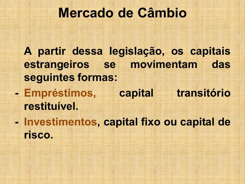 Mercado de Câmbio A partir dessa legislação, os capitais estrangeiros se movimentam das seguintes formas: -Empréstimos, capital transitório restituíve