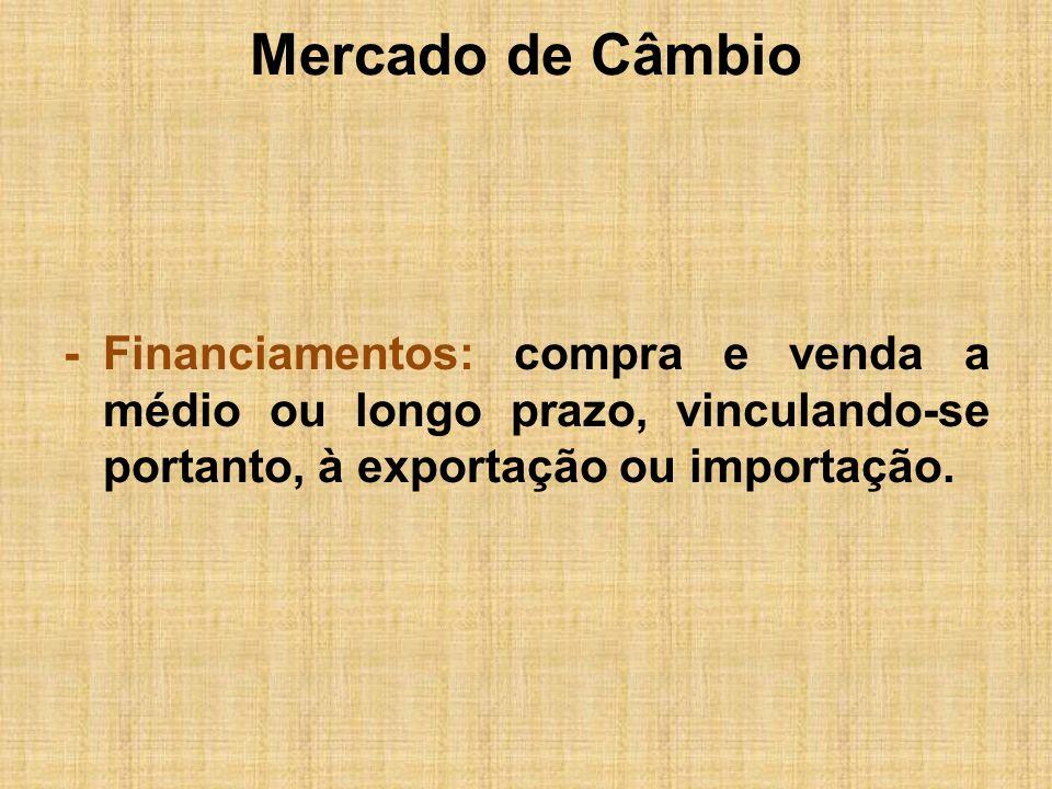 Mercado de Câmbio Taxas de Câmbio Oficial (Antigo Dólar Comercial): Estabelecida para as operações oficiais de compra e venda de moeda no comércio exterior.