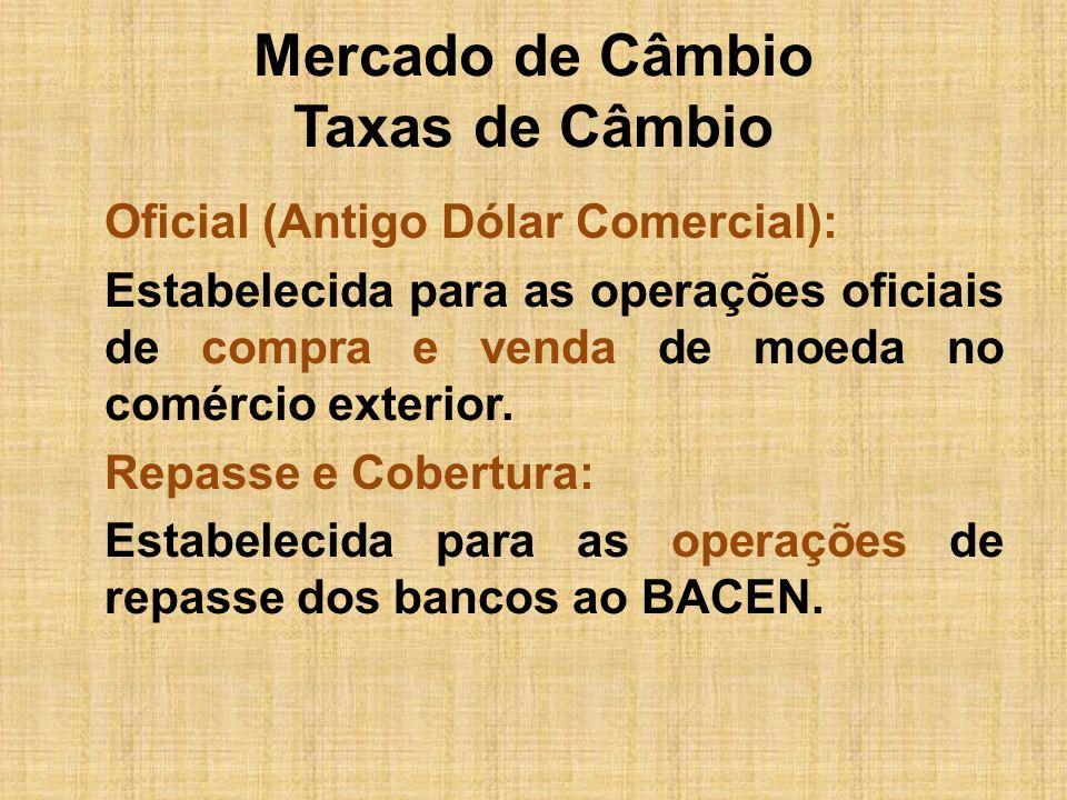 Mercado de Câmbio Taxas de Câmbio Oficial (Antigo Dólar Comercial): Estabelecida para as operações oficiais de compra e venda de moeda no comércio ext