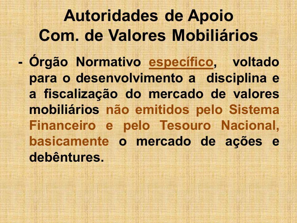 Autoridades de Apoio Com. de Valores Mobiliários -Órgão Normativo específico, voltado para o desenvolvimento a disciplina e a fiscalização do mercado