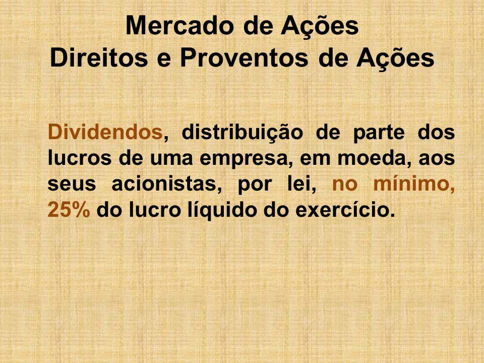 Mercado de Ações Direitos e Proventos de Ações Dividendos, distribuição de parte dos lucros de uma empresa, em moeda, aos seus acionistas, por lei, no