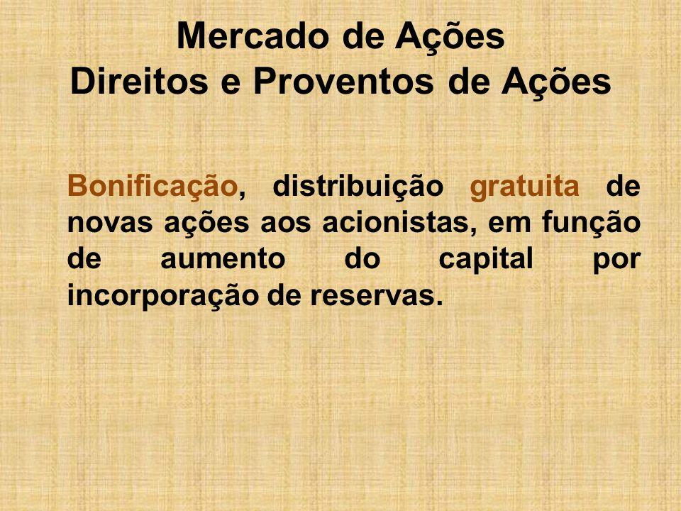 Mercado de Ações Direitos e Proventos de Ações Split ou Desdobramento, distribuição gratuita de novas ações aos acionistas, pela diluição do capital em maior número de ações, com o objetivo de dar liquidez aos títulos no mercado.