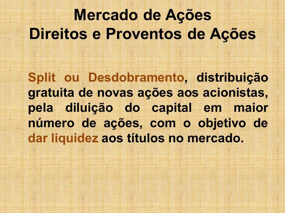 Mercado de Ações Direitos e Proventos de Ações Split ou Desdobramento, distribuição gratuita de novas ações aos acionistas, pela diluição do capital e