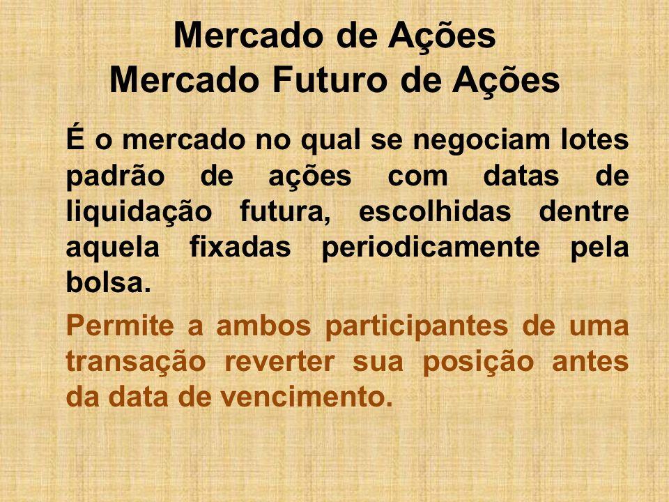 Mercado de Ações Mercado Futuro de Ações É o mercado no qual se negociam lotes padrão de ações com datas de liquidação futura, escolhidas dentre aquel