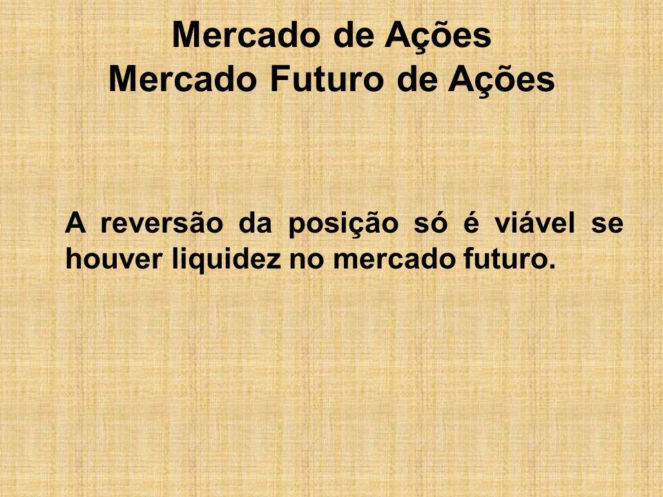 Mercado de Ações Mercado Futuro de Ações A reversão da posição só é viável se houver liquidez no mercado futuro.