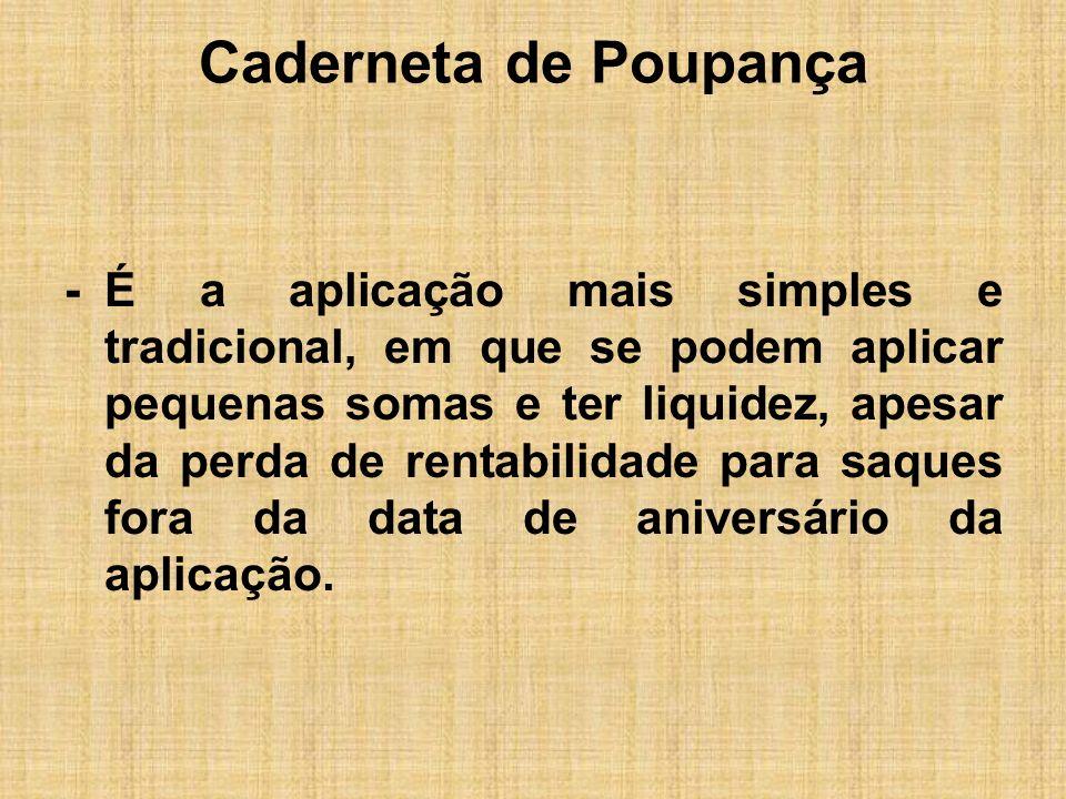 Caderneta de Poupança -É um produto exclusivo das SCI, BM com carteiras imobiliárias, APES e caixas econômicas.