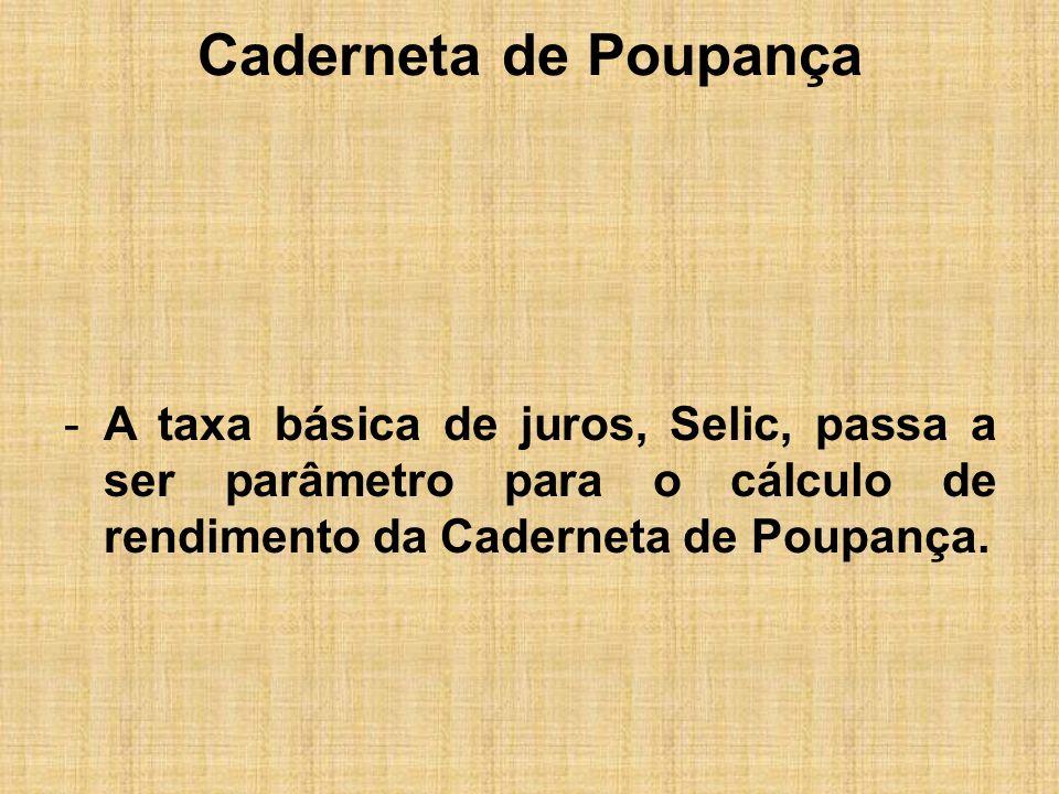 Caderneta de Poupança A nova regra passou a valer a partir de 04/05/12, vejamos: Selic igual ou inferior a 8,5% a.a: o rendimento será igual a 70% da Selic + T.R.