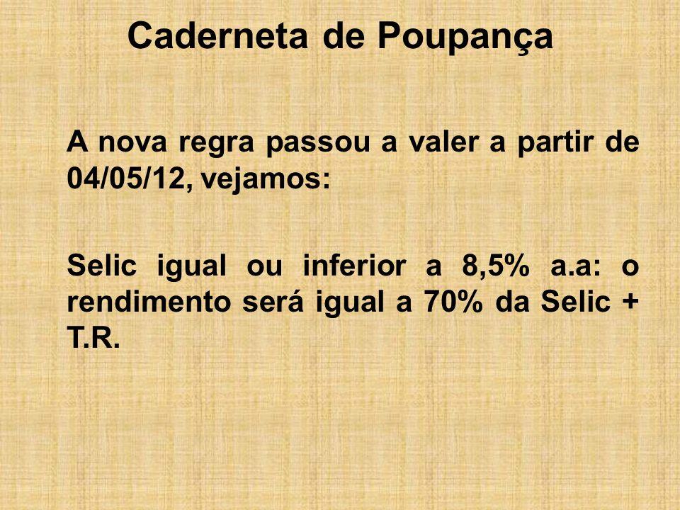 Caderneta de Poupança A nova regra passou a valer a partir de 04/05/12, vejamos: Selic igual ou inferior a 8,5% a.a: o rendimento será igual a 70% da
