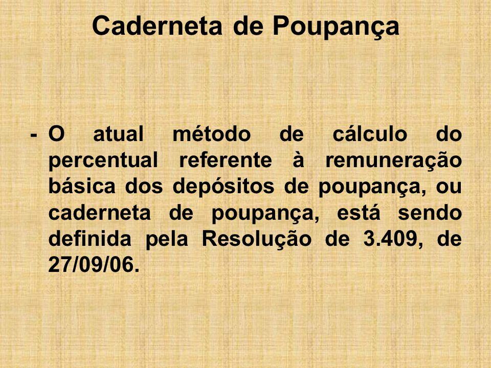 Caderneta de Poupança -O atual método de cálculo do percentual referente à remuneração básica dos depósitos de poupança, ou caderneta de poupança, est