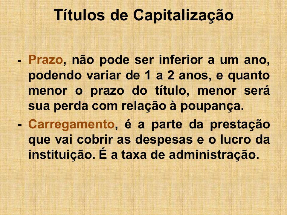 Títulos de Capitalização -Provisão matemática, é a parcela da prestação que vai compor a poupança do investidor.