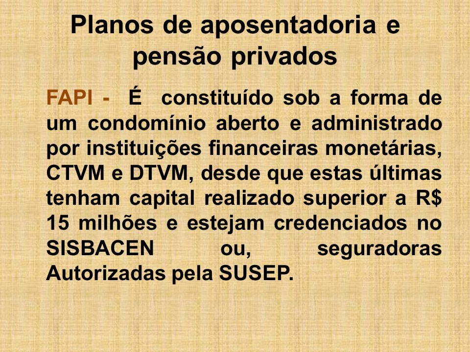 Planos de aposentadoria e pensão privados FAPI - É constituído sob a forma de um condomínio aberto e administrado por instituições financeiras monetár