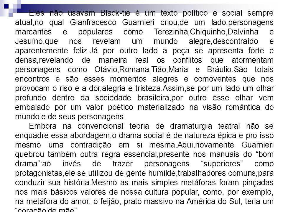 Eles não usavam Black-tie é um texto político e social sempre atual,no qual Gianfracesco Guarnieri criou,de um lado,personagens marcantes e populares