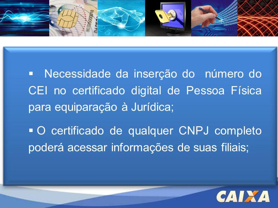 Necessidade da inserção do número do CEI no certificado digital de Pessoa Física para equiparação à Jurídica; O certificado de qualquer CNPJ completo