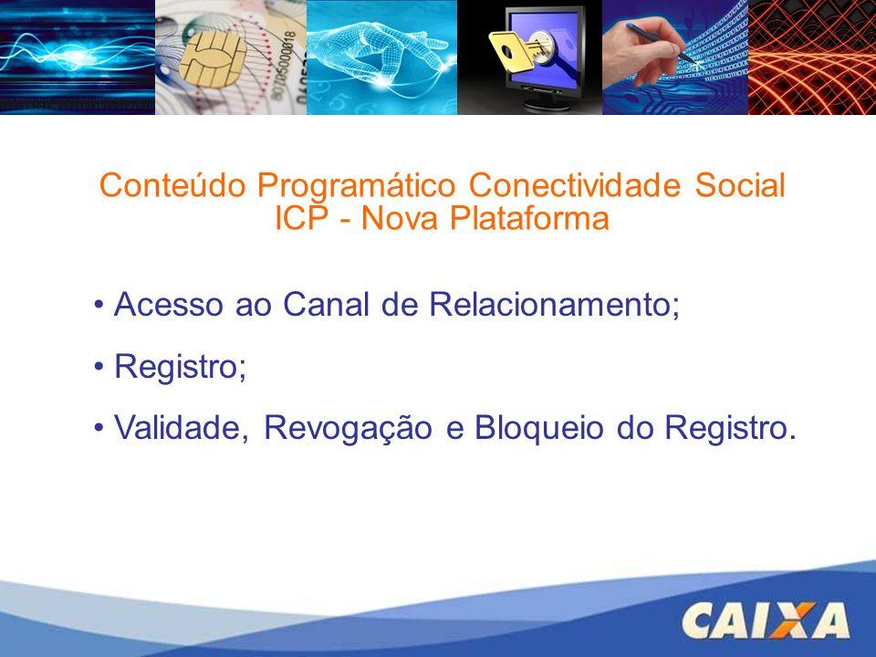 Conteúdo Programático Conectividade Social ICP - Nova Plataforma Acesso ao Canal de Relacionamento; Registro; Validade, Revogação e Bloqueio do Regist