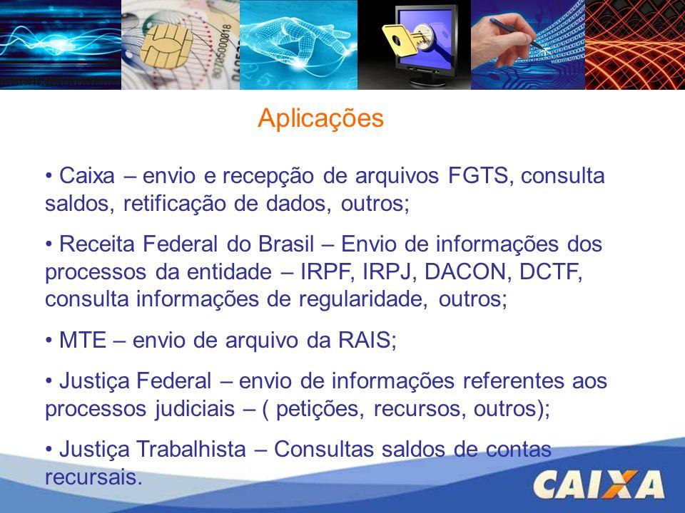 Aplicações Caixa – envio e recepção de arquivos FGTS, consulta saldos, retificação de dados, outros; Receita Federal do Brasil – Envio de informações