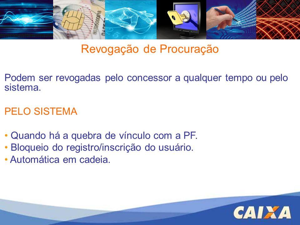 Revogação de Procuração Podem ser revogadas pelo concessor a qualquer tempo ou pelo sistema. PELO SISTEMA Quando há a quebra de vínculo com a PF. Bloq