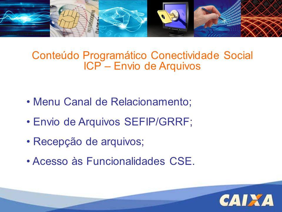 Conteúdo Programático Conectividade Social ICP – Envio de Arquivos Menu Canal de Relacionamento; Envio de Arquivos SEFIP/GRRF; Recepção de arquivos; A