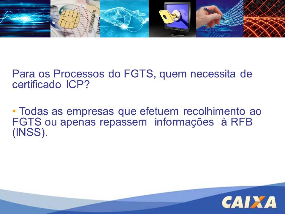 Para os Processos do FGTS, quem necessita de certificado ICP? Todas as empresas que efetuem recolhimento ao FGTS ou apenas repassem informações à RFB