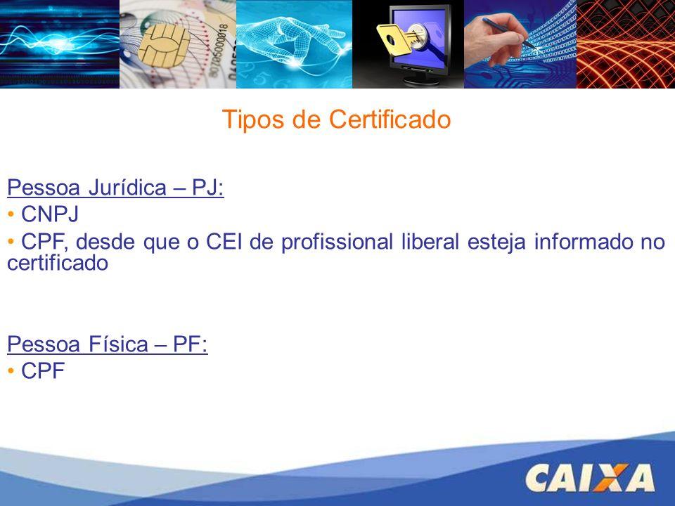 Tipos de Certificado Pessoa Jurídica – PJ: CNPJ CPF, desde que o CEI de profissional liberal esteja informado no certificado Pessoa Física – PF: CPF