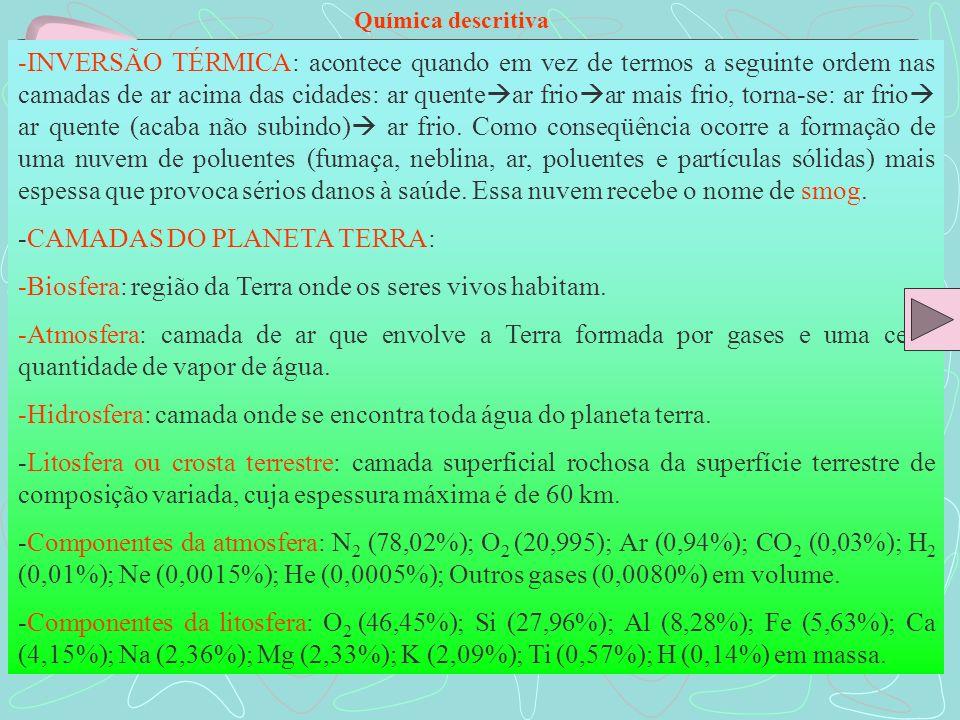 Química descritiva -INVERSÃO TÉRMICA: acontece quando em vez de termos a seguinte ordem nas camadas de ar acima das cidades: ar quente ar frio ar mais