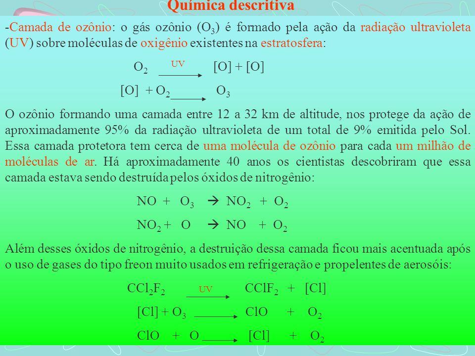 -Camada de ozônio: o gás ozônio (O 3 ) é formado pela ação da radiação ultravioleta (UV) sobre moléculas de oxigênio existentes na estratosfera: O 2 [