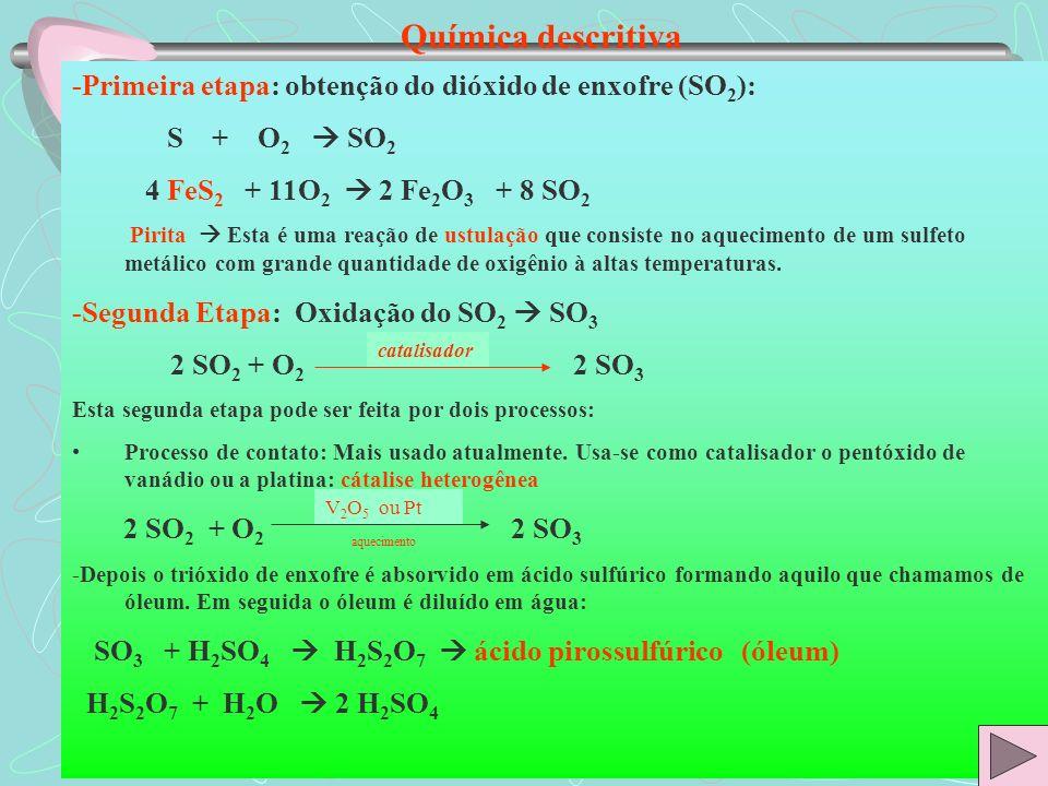 Química descritiva -Primeira etapa: obtenção do dióxido de enxofre (SO 2 ): S + O 2 SO 2 4 FeS 2 + 11O 2 2 Fe 2 O 3 + 8 SO 2 Pirita Esta é uma reação