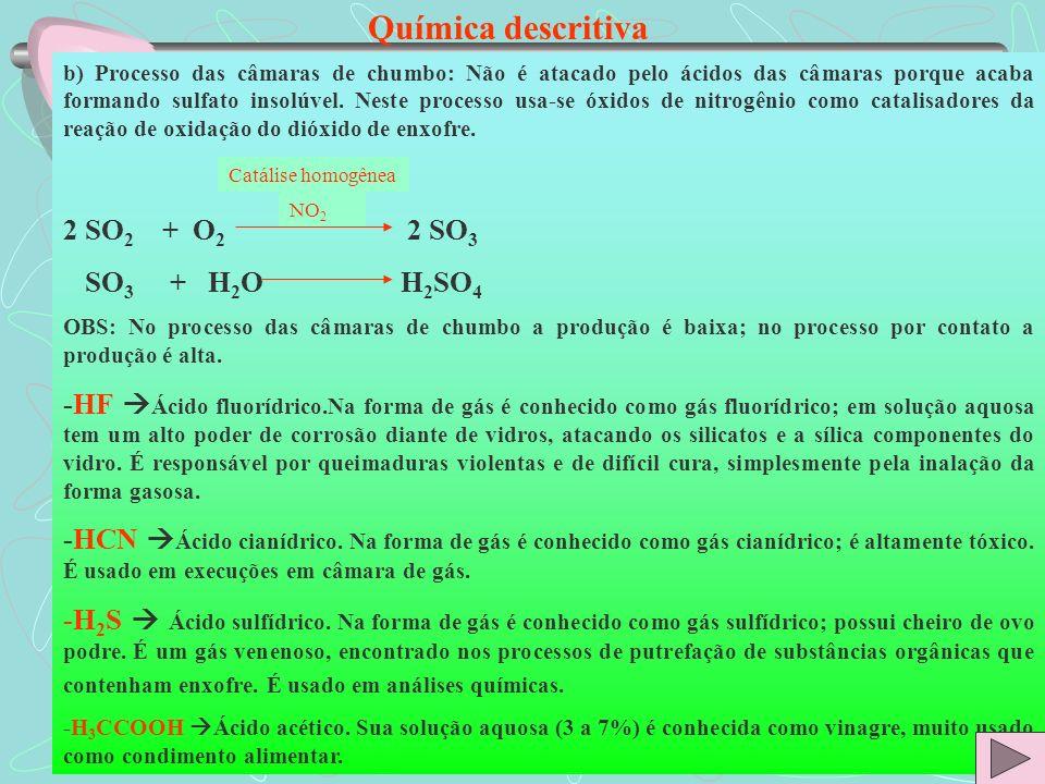 Química descritiva b) Processo das câmaras de chumbo: Não é atacado pelo ácidos das câmaras porque acaba formando sulfato insolúvel. Neste processo us