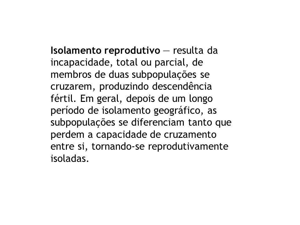 Isolamento reprodutivo resulta da incapacidade, total ou parcial, de membros de duas subpopulações se cruzarem, produzindo descendência fértil. Em ger