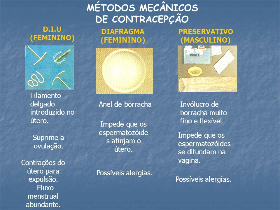 MÉTODOS MECÂNICOS DE CONTRACEPÇÃO D.I.U (FEMININO) Filamento delgado introduzido no útero. Contrações do útero para expulsão. Fluxo menstrual abundant