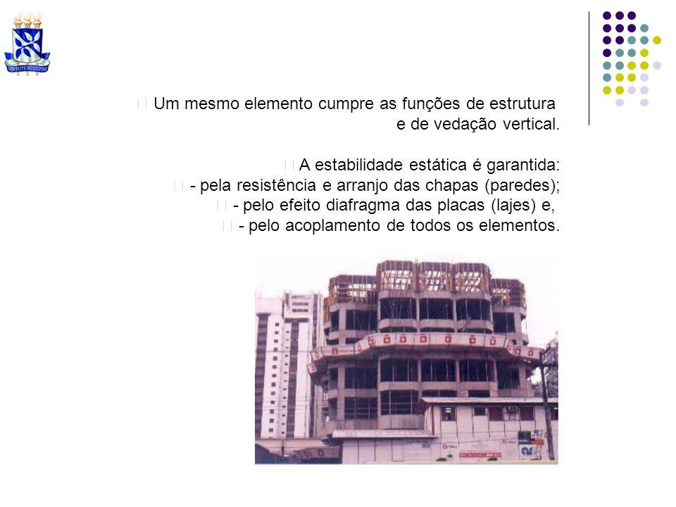 Um mesmo elemento cumpre as funções de estrutura e de vedação vertical. A estabilidade estática é garantida: - pela resistência e arranjo das chapas (