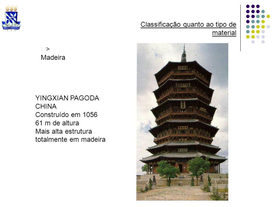 > Madeira Classificação quanto ao tipo de material YINGXIAN PAGODA CHINA Construído em 1056 61 m de altura Mais alta estrutura totalmente em madeira