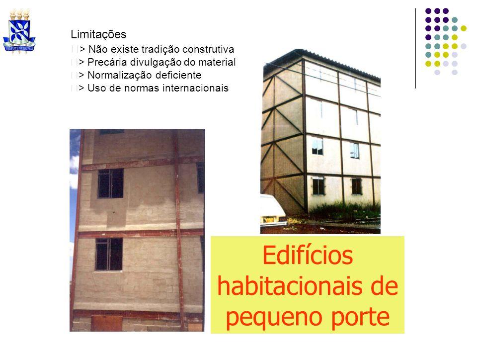Limitações > Não existe tradição construtiva > Precária divulgação do material > Normalização deficiente > Uso de normas internacionais