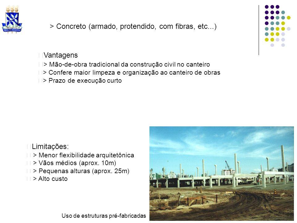 Uso de estruturas pré-fabricadas Limitações: > Menor flexibilidade arquitetônica > Vãos médios (aprox. 10m) > Pequenas alturas (aprox. 25m) > Alto cus