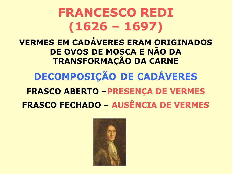 FRANCESCO REDI (1626 – 1697) VERMES EM CADÁVERES ERAM ORIGINADOS DE OVOS DE MOSCA E NÃO DA TRANSFORMAÇÃO DA CARNE DECOMPOSIÇÃO DE CADÁVERES FRASCO ABERTO –PRESENÇA DE VERMES FRASCO FECHADO – AUSÊNCIA DE VERMES