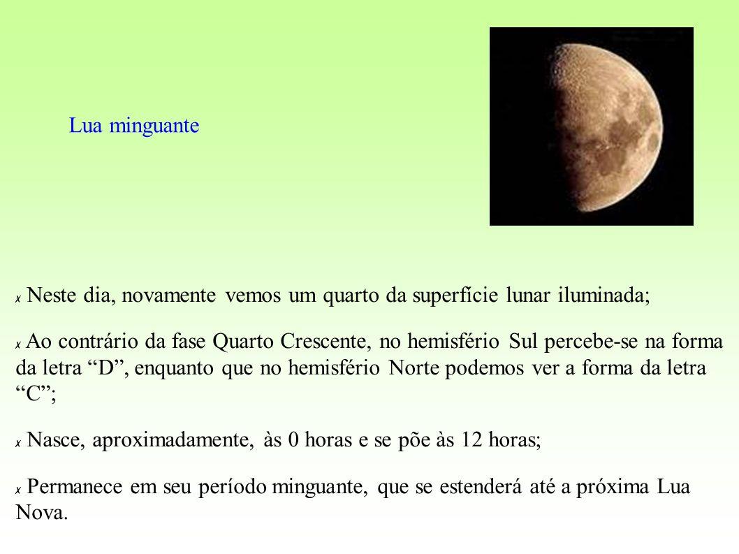Lua minguante Neste dia, novamente vemos um quarto da superfície lunar iluminada; Ao contrário da fase Quarto Crescente, no hemisfério Sul percebe-se na forma da letra D, enquanto que no hemisfério Norte podemos ver a forma da letra C; Nasce, aproximadamente, às 0 horas e se põe às 12 horas; Permanece em seu período minguante, que se estenderá até a próxima Lua Nova.