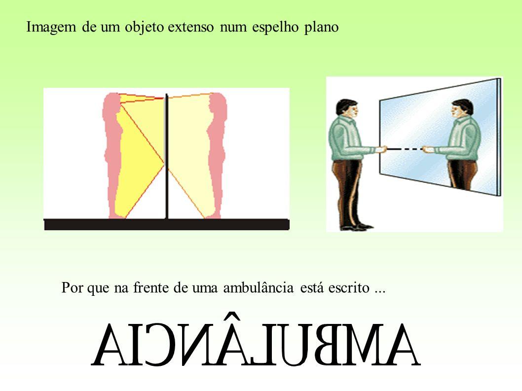 Imagem de um objeto extenso num espelho plano Por que na frente de uma ambulância está escrito...
