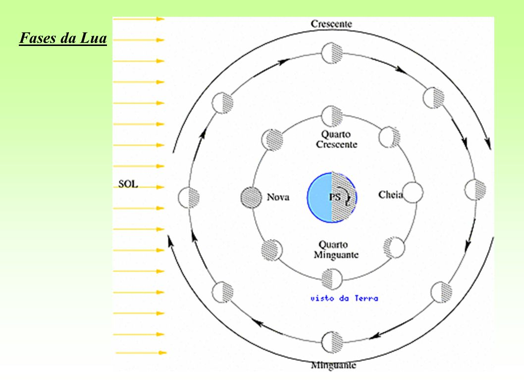 Não podemos ver a face iluminada aqui da Terra; Está abaixo da linha Terra-Sol, portanto, podemos vê-la durante o dia; O fenômeno que ocorre quando a Lua ocupa essa posição chama-se conjunção; Nasce, aproximadamente, às 6 horas e se põe aproximadamente às 18 horas; No dia seguinte começa o período crescente da Lua, aparecendo no céu cada dia uma porção maior da sua face iluminada.