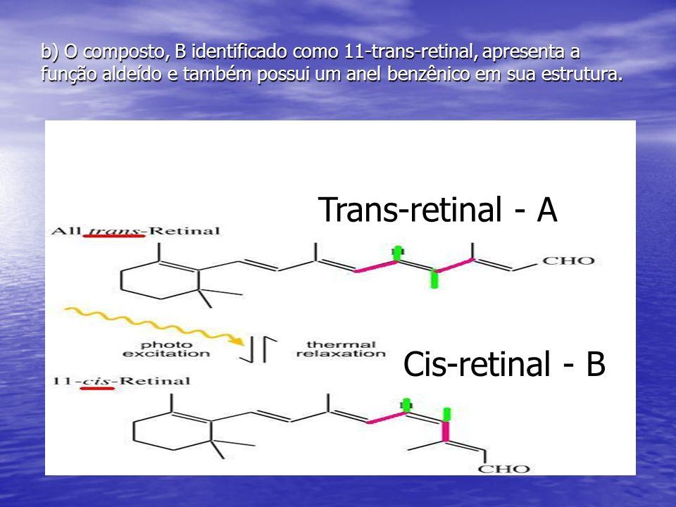 b) O composto, B identificado como 11-trans-retinal, apresenta a função aldeído e também possui um anel benzênico em sua estrutura. Trans-retinal - A