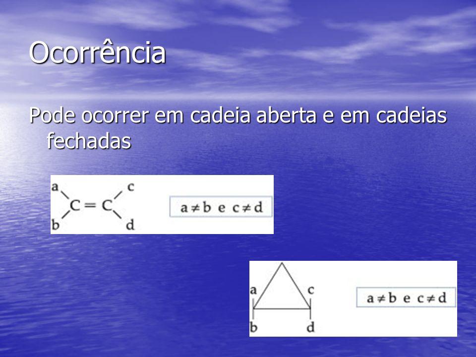 Cadeias abertas Tem que apresentar dupla ligação e no carbono da dupla tem que se ter ligantes diferentes.
