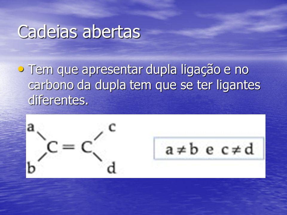 Cadeias abertas Tem que apresentar dupla ligação e no carbono da dupla tem que se ter ligantes diferentes. Tem que apresentar dupla ligação e no carbo