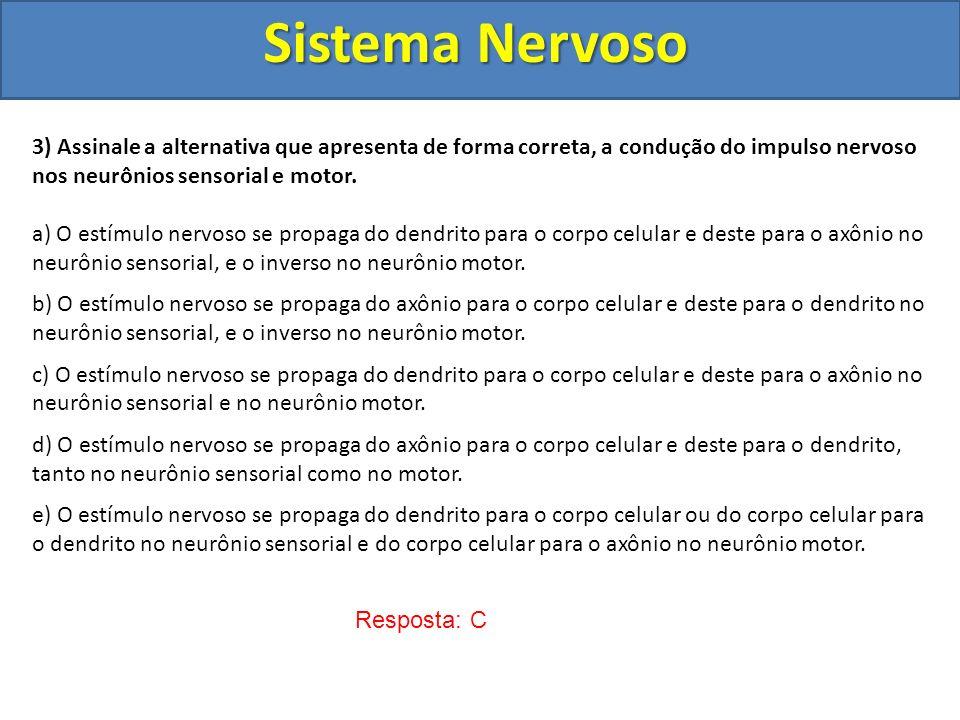 Sistema Nervoso 3) Assinale a alternativa que apresenta de forma correta, a condução do impulso nervoso nos neurônios sensorial e motor. a) O estímulo