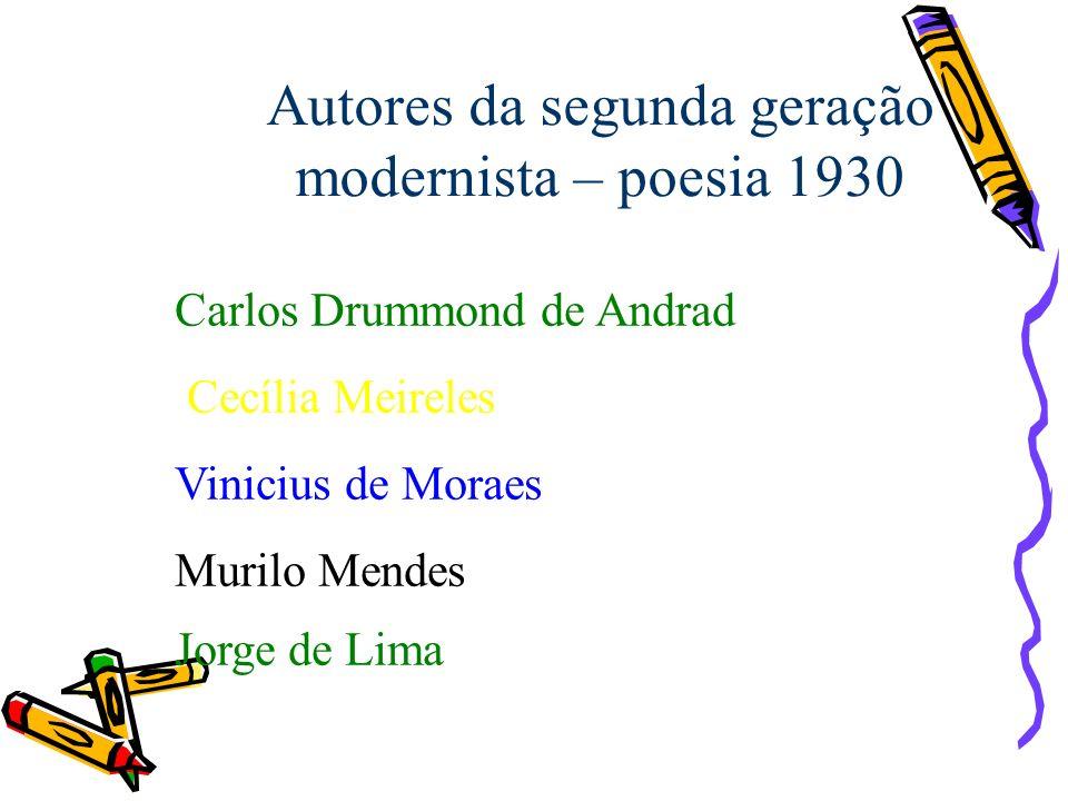 Autores da segunda geração modernista – poesia 1930 Carlos Drummond de Andrad Cecília Meireles Vinicius de Moraes Murilo Mendes Jorge de Lima