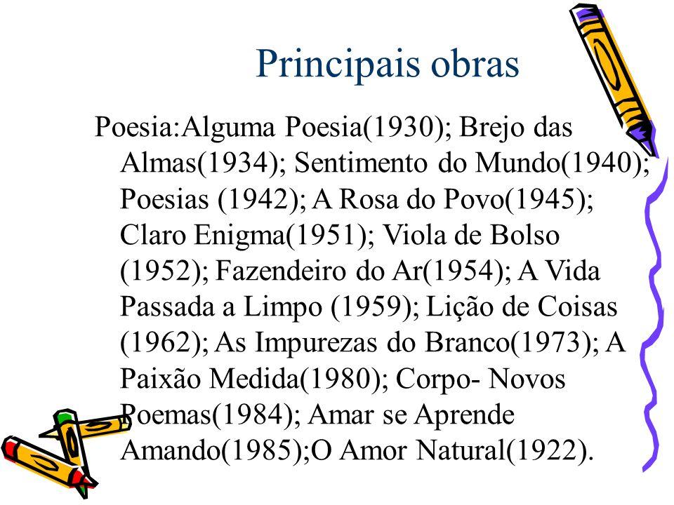Principais obras Poesia:Alguma Poesia(1930); Brejo das Almas(1934); Sentimento do Mundo(1940); Poesias (1942); A Rosa do Povo(1945); Claro Enigma(1951